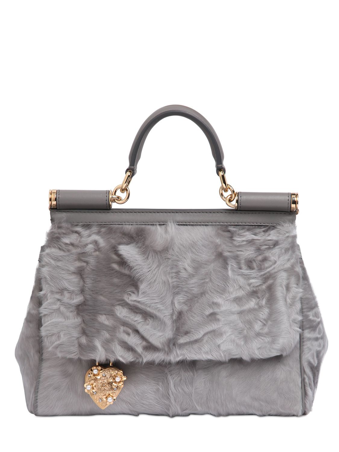 1b75f1d7cc Lyst - Dolce   Gabbana Mamma Xiangao Fur Top Handle Bag in Gray