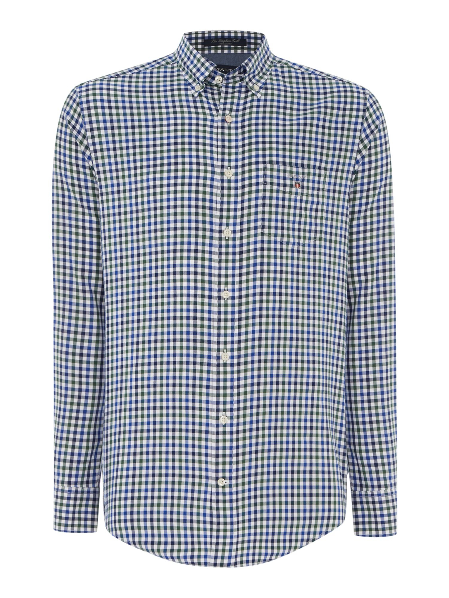 Gant gingham twill classic shirt in green for men lyst for Red and green checked shirt