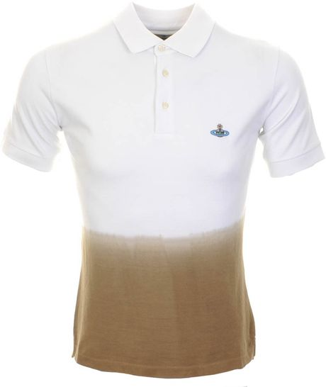 Vivienne westwood dip dyed polo t shirt white in white for for Mens dip dye shirt