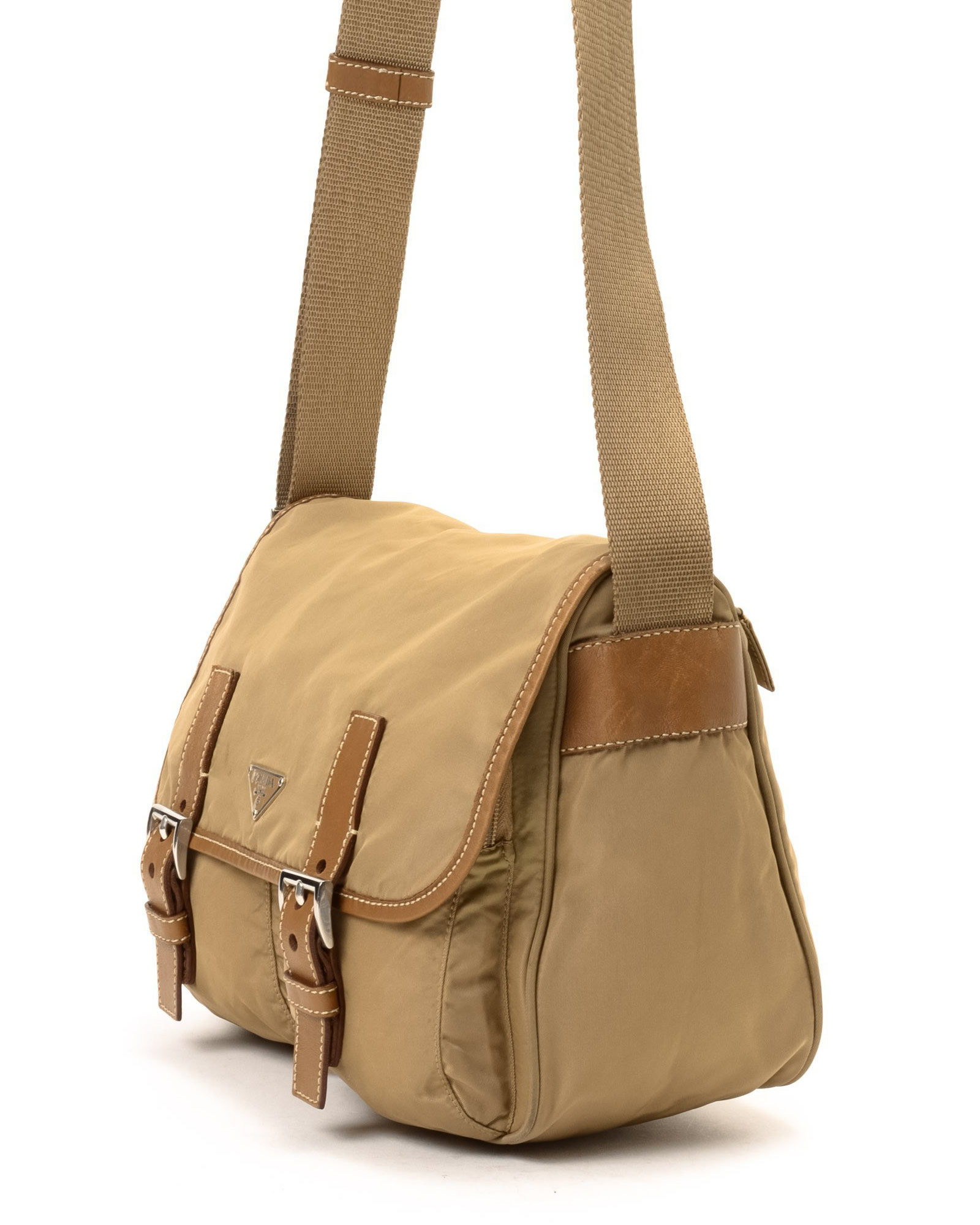 a73c0ca50 ... canvas messenger 6d9bf b020c spain lyst prada messenger bag vintage in  natural 4f9c4 99cba ...