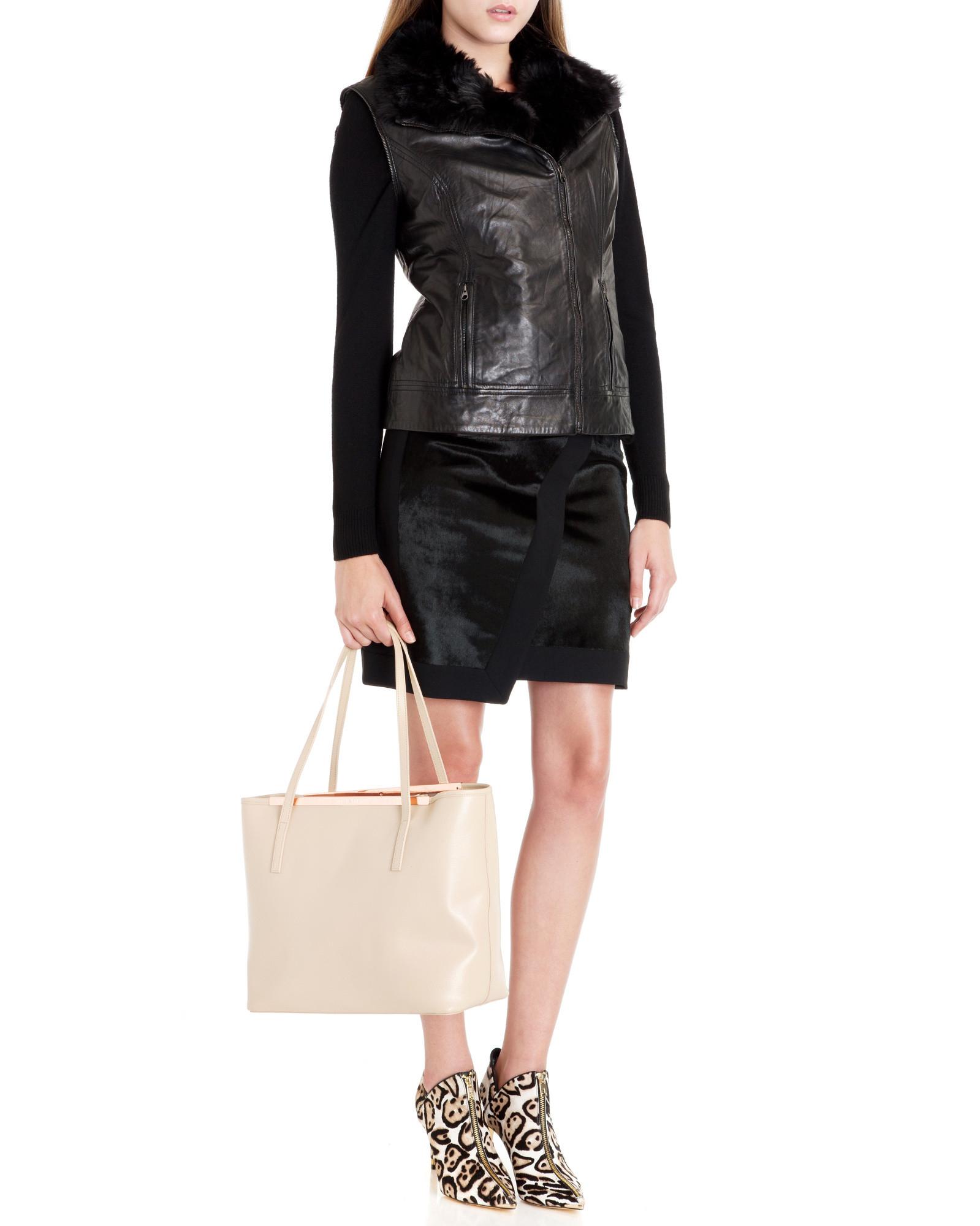 e49cfea22 Lyst - Ted Baker Pony Skin Effect Leather Mini Skirt in Black