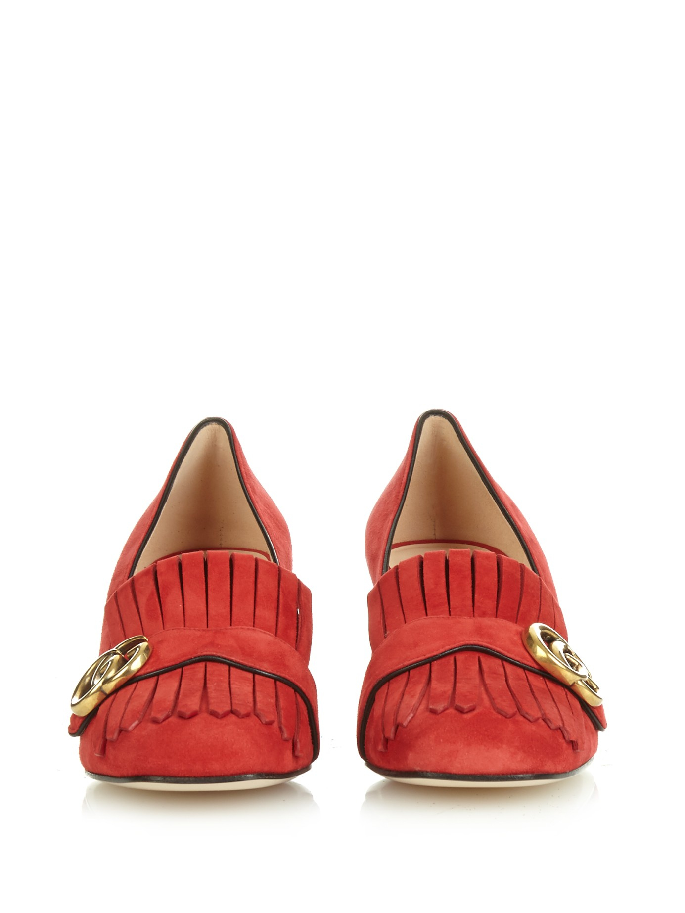 9ec4b5b6343cd Lyst - Gucci Marmont Fringed Suede Pumps in Red