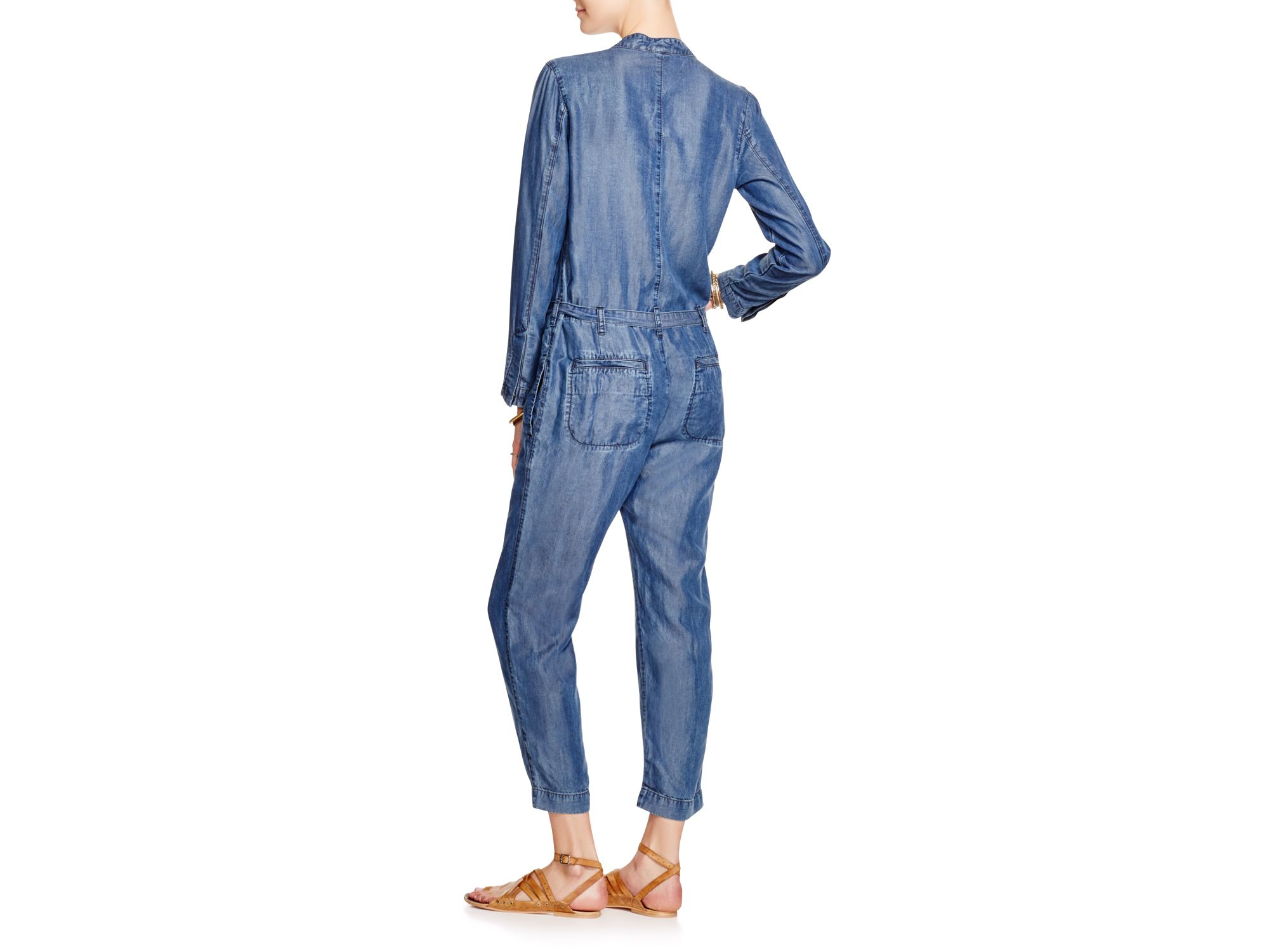 d5bc283860 Lyst - Free People Lou Chambray Jumpsuit in Blue