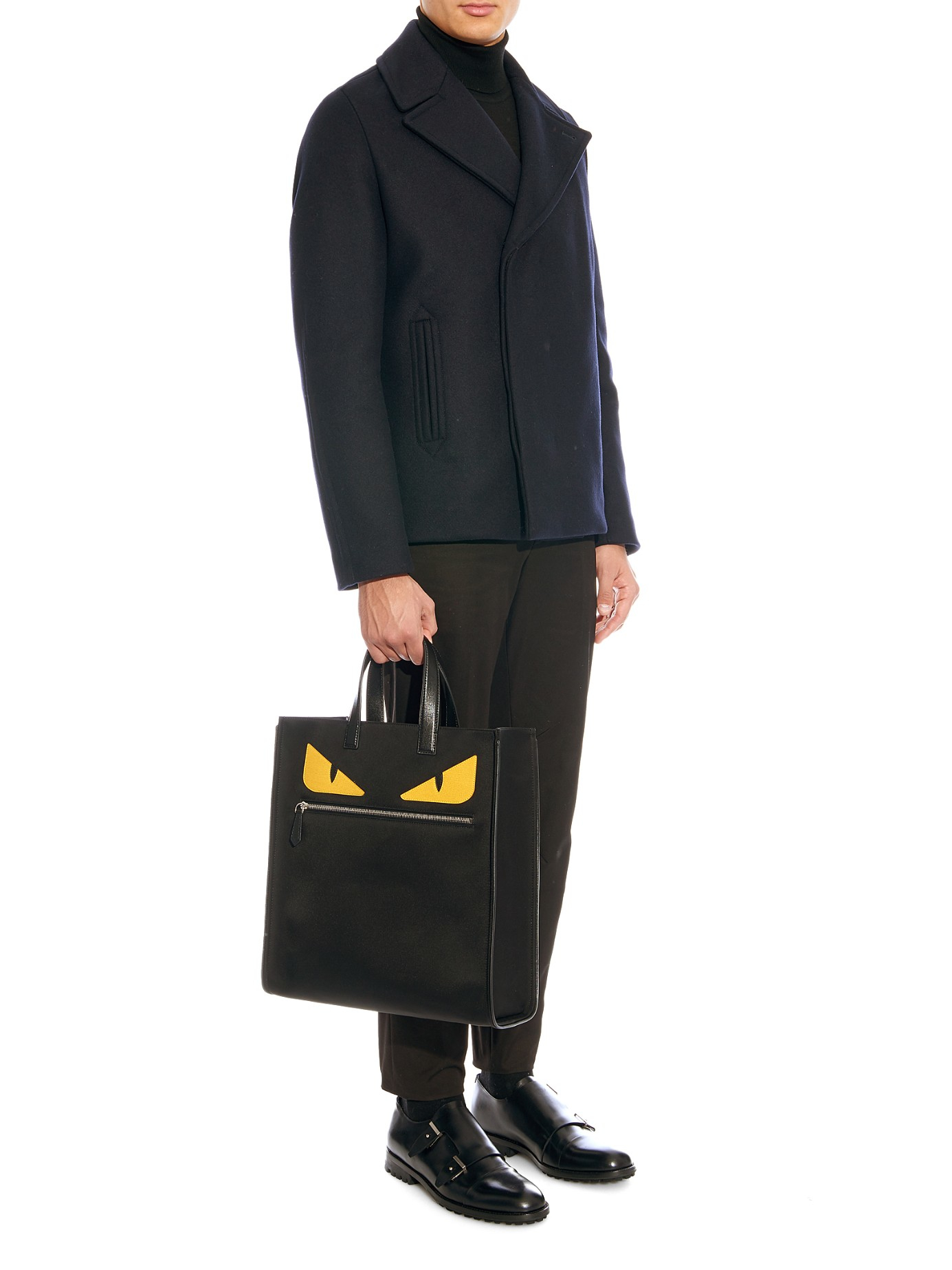 8b425622ae Lyst - Fendi Bag Bugs Leather And Nylon Tote in Black for Men
