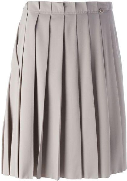 agnona pleated skirt in beige neutrals lyst