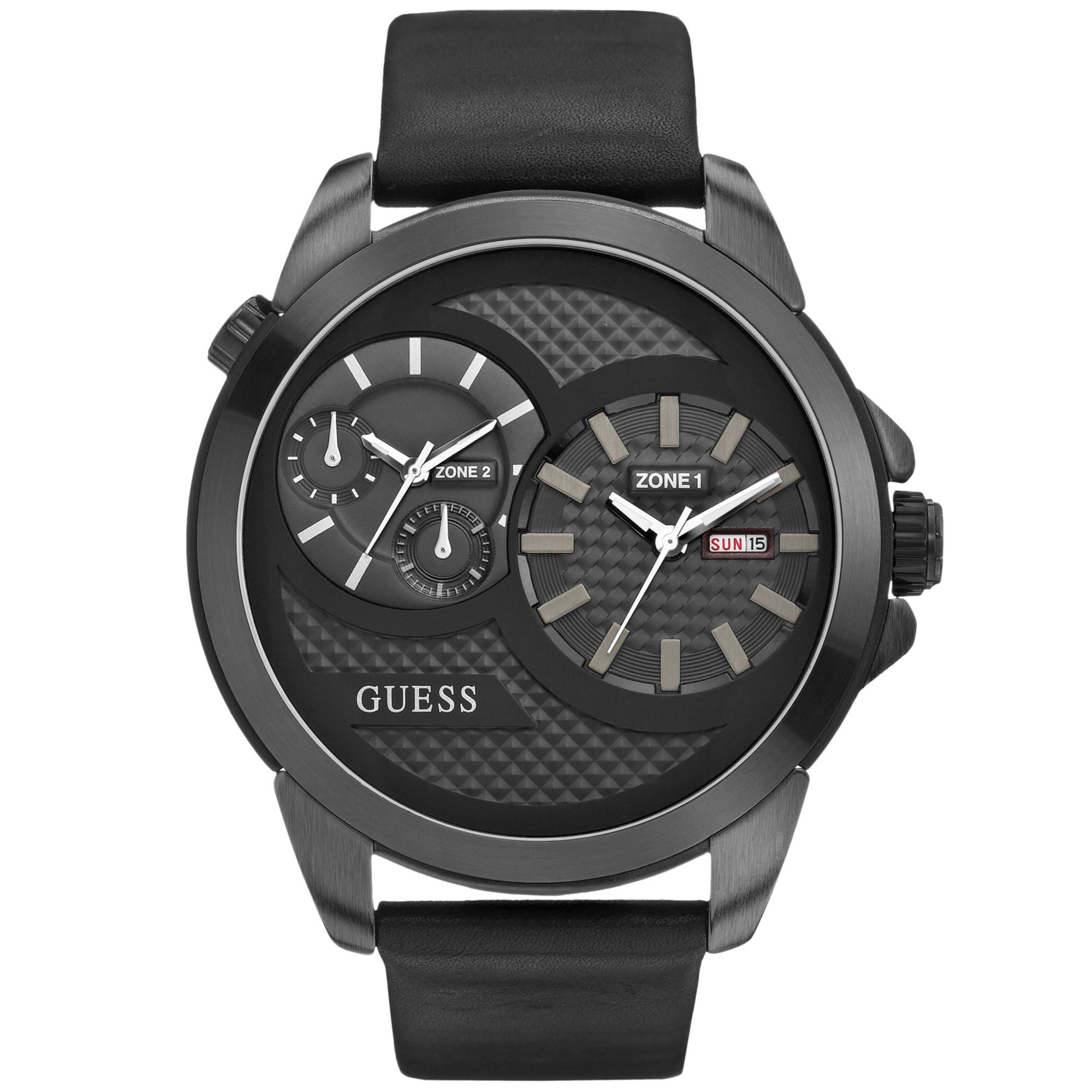 guess watch men 39 s dual time black leather strap 55mm. Black Bedroom Furniture Sets. Home Design Ideas