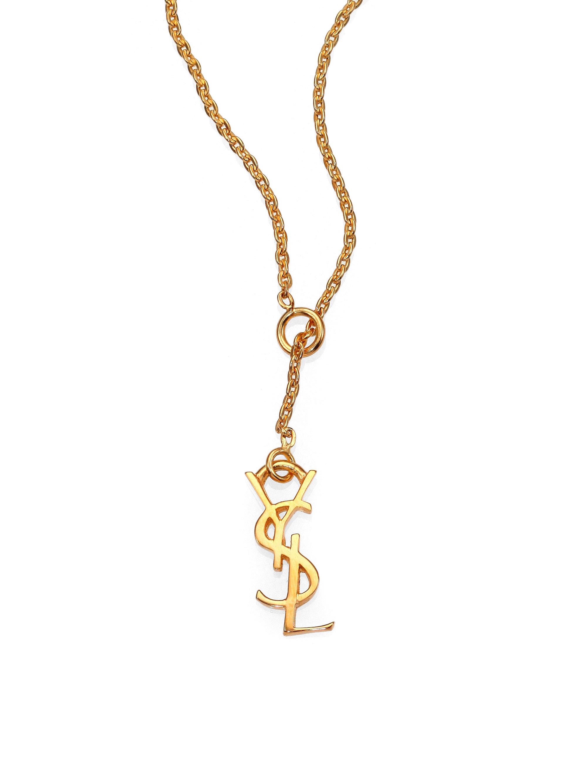 bb76836fff5 Saint Laurent Monogramme Fin Signature Pendant Necklace in Metallic ...