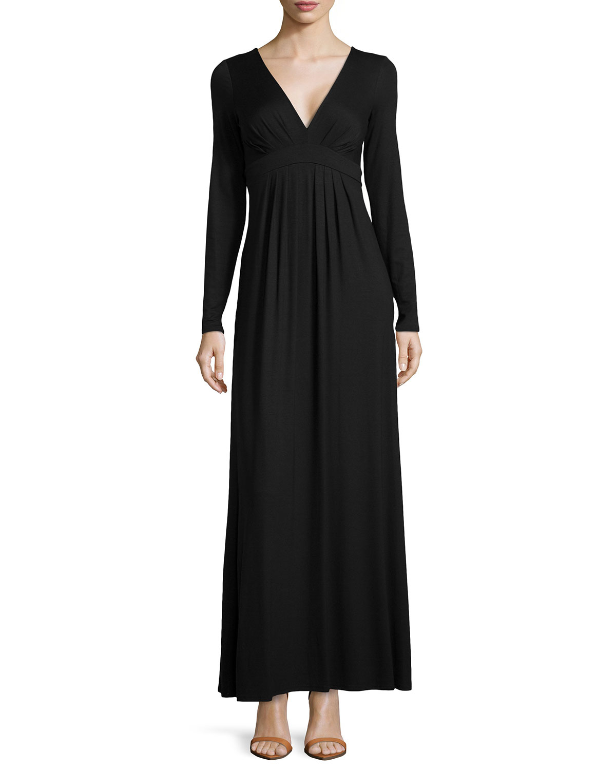 d15991521445 Black Jersey Maxi Dress Long Sleeve