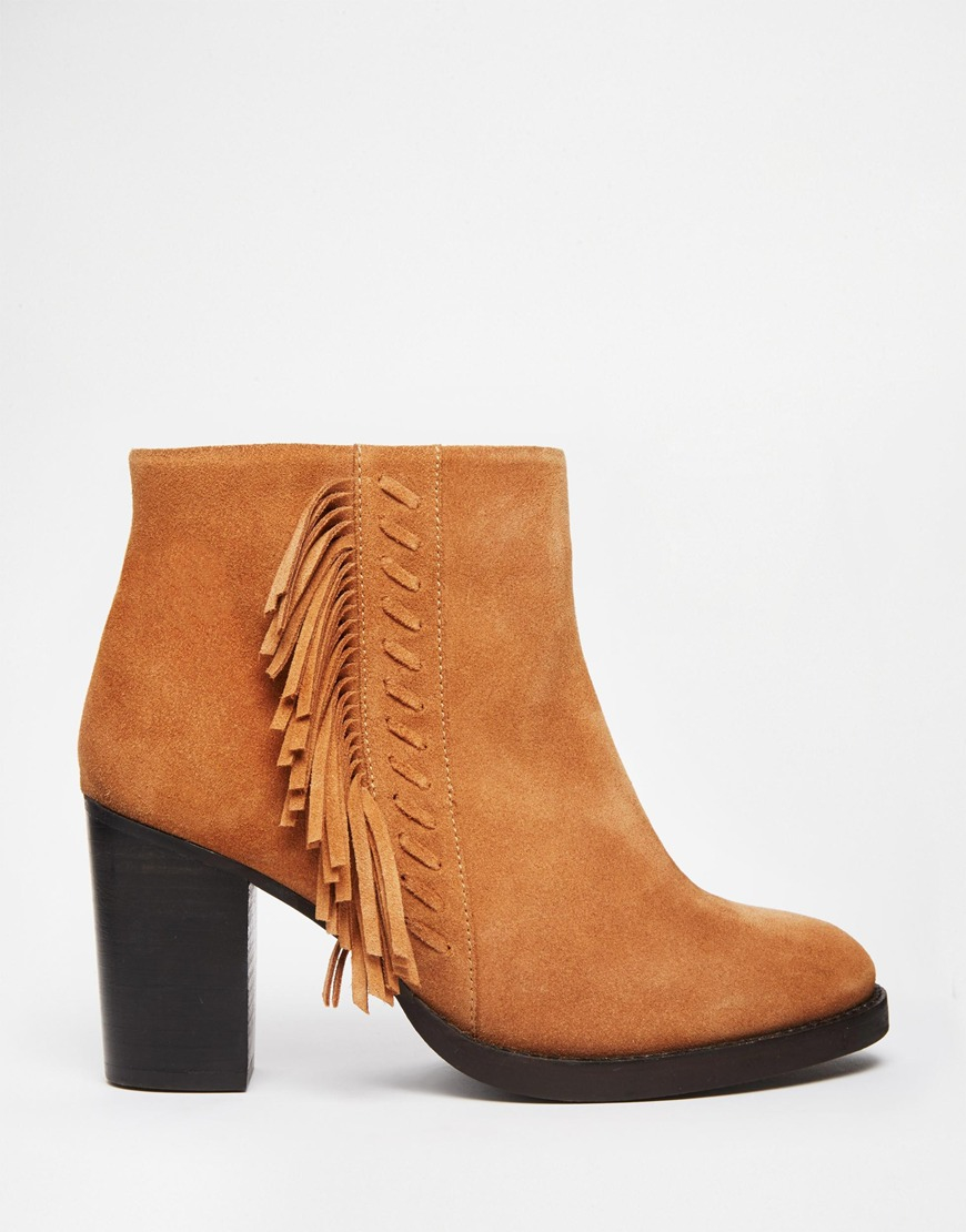 asos ella wide fit suede high ankle boots in brown lyst