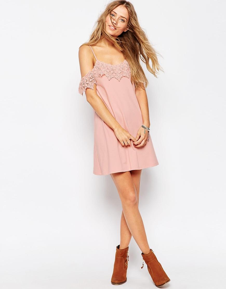 Asos Cold Shoulder Lace Trim Dress In Pink Lyst