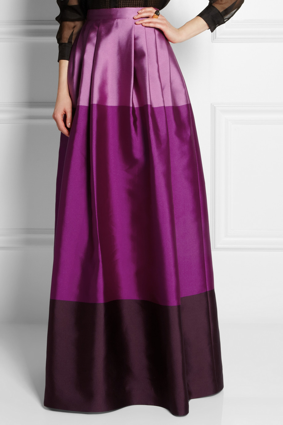 Temperley London Long Freesia Satin-Twill Maxi Skirt in ...