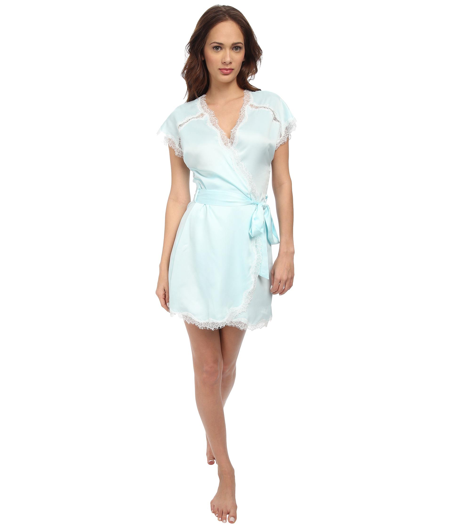 Betsey johnson satin robe in blue betty blue lyst for Robes de mariage de betsey johnson