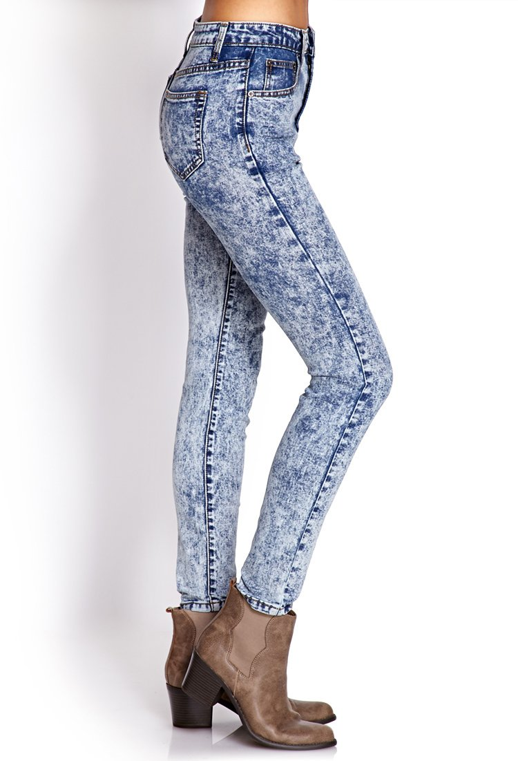 cfbf4ee549 Lyst - Forever 21 High-waisted Acid Wash Jeans in Blue