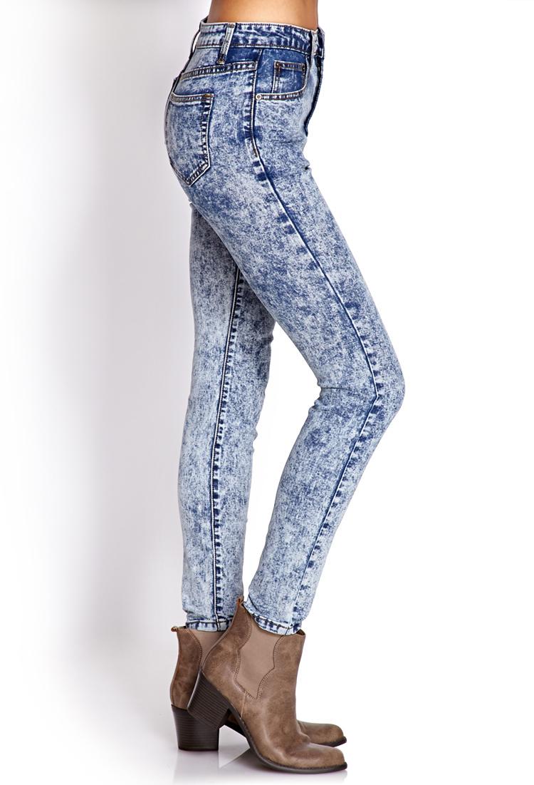 Light Acid Wash High Waisted Jeans