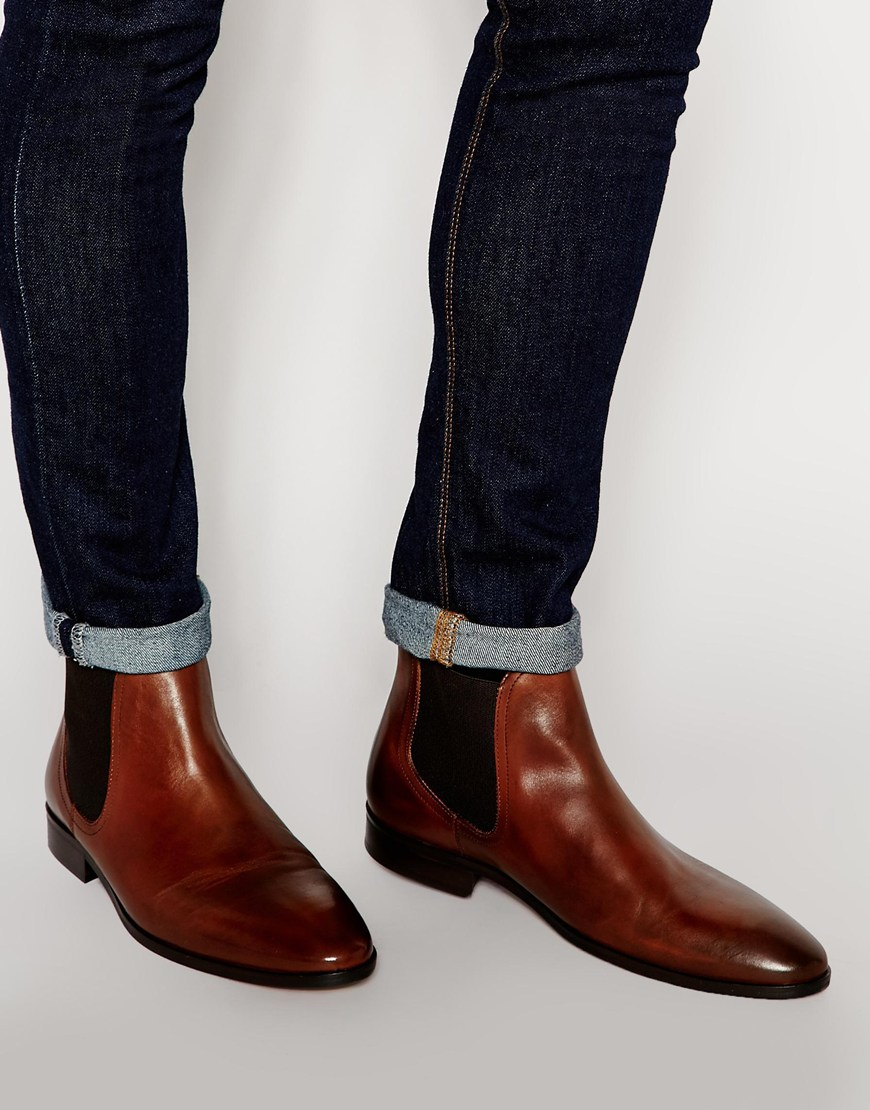 Dune Leather Muggles Chelsea Boots in Brown for Men | Lyst