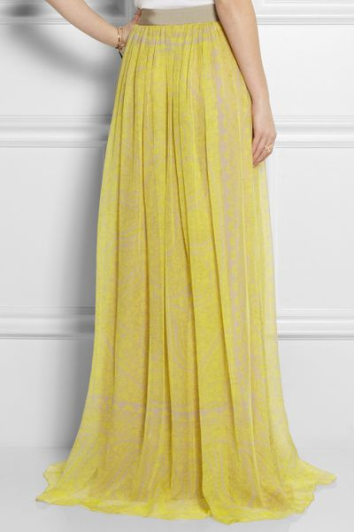 Giambattista valli printed silkchiffon maxi skirt in yellow lyst