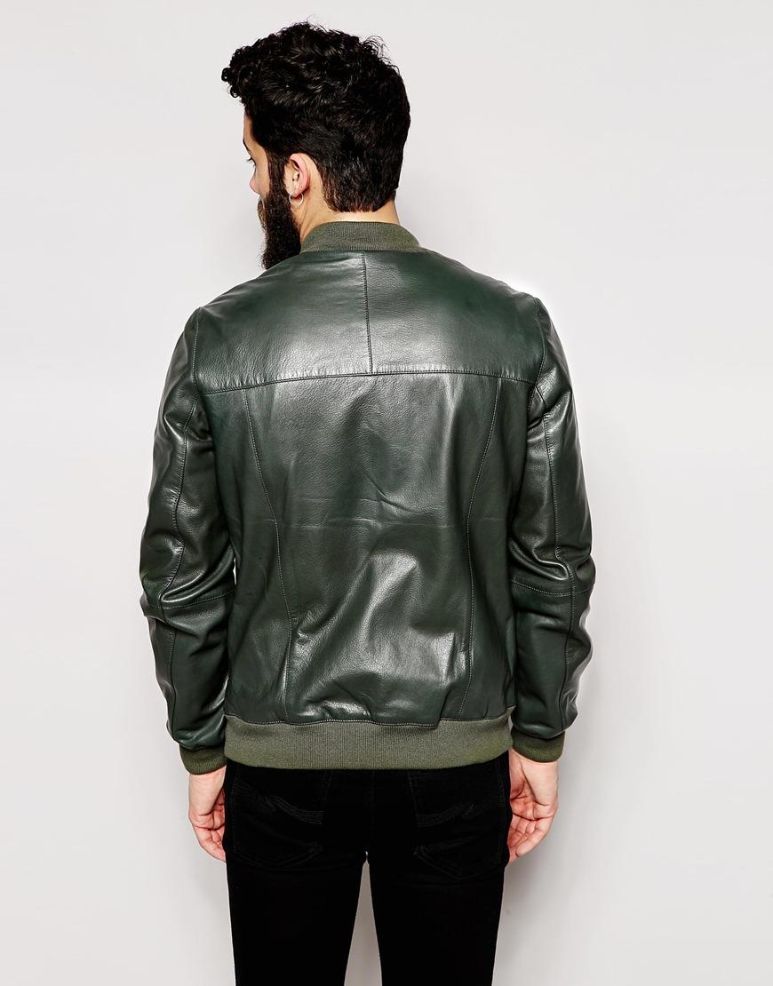 Asos Leather Bomber Jacket in Green for Men | Lyst