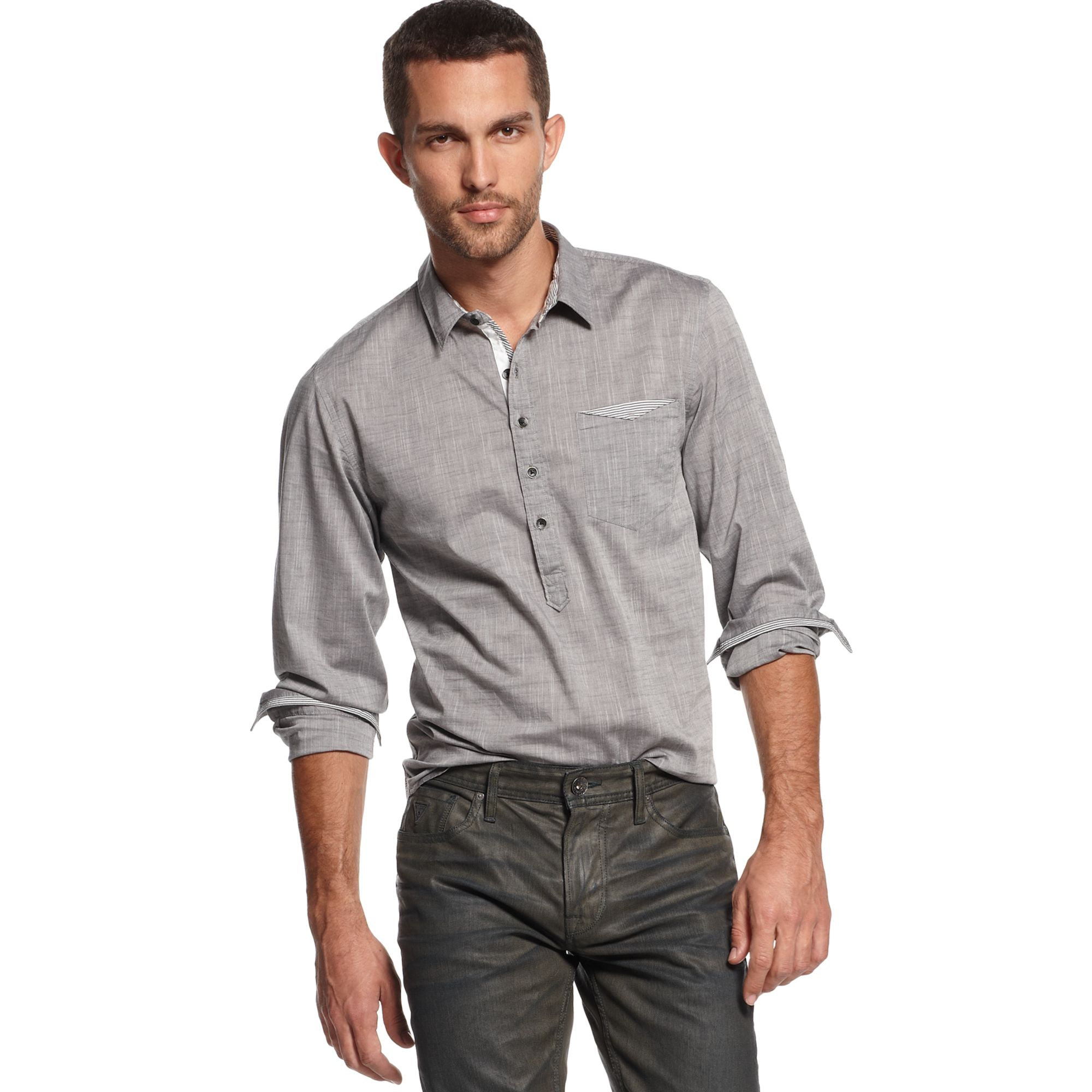 lyst guess rustic popover shirt in gray for men