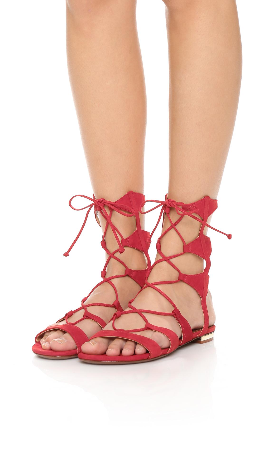 0a16edb7535 Schutz Erlina Lace Up Sandals - Scarlet in Red - Lyst