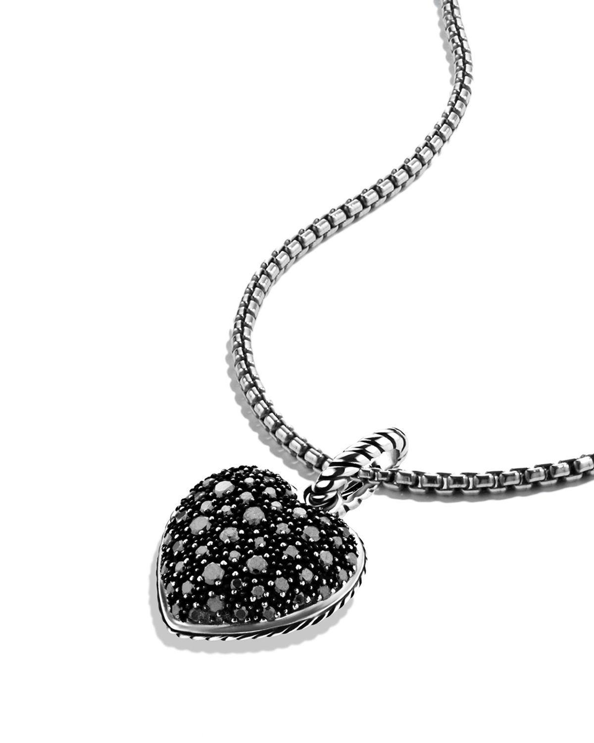 Lyst david yurman midnight mlange heart pendant with black gallery mozeypictures Images