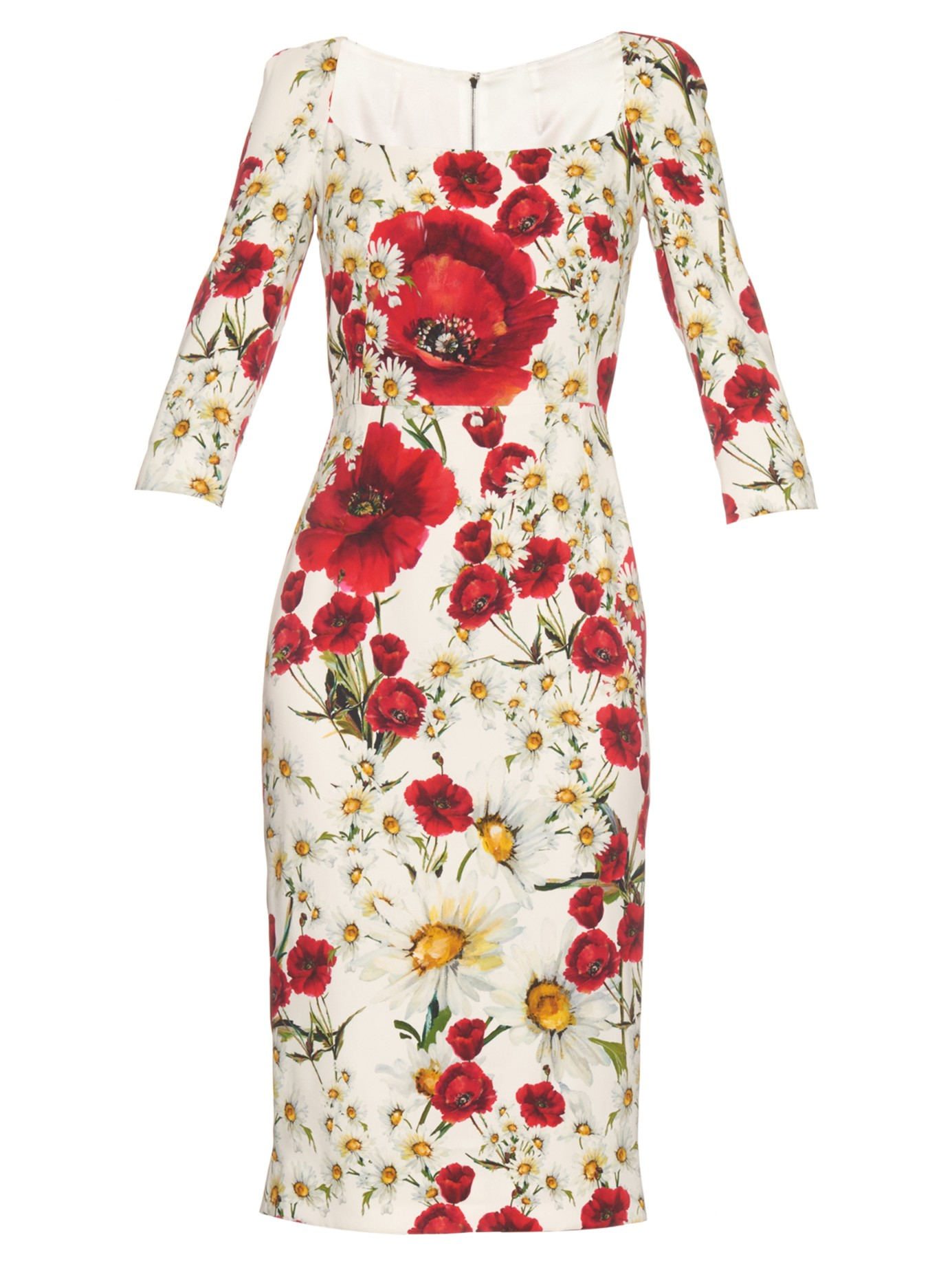 9e4ca2b4 Dolce & Gabbana Daisy And Poppy-print Crepe Midi Dress in White - Lyst
