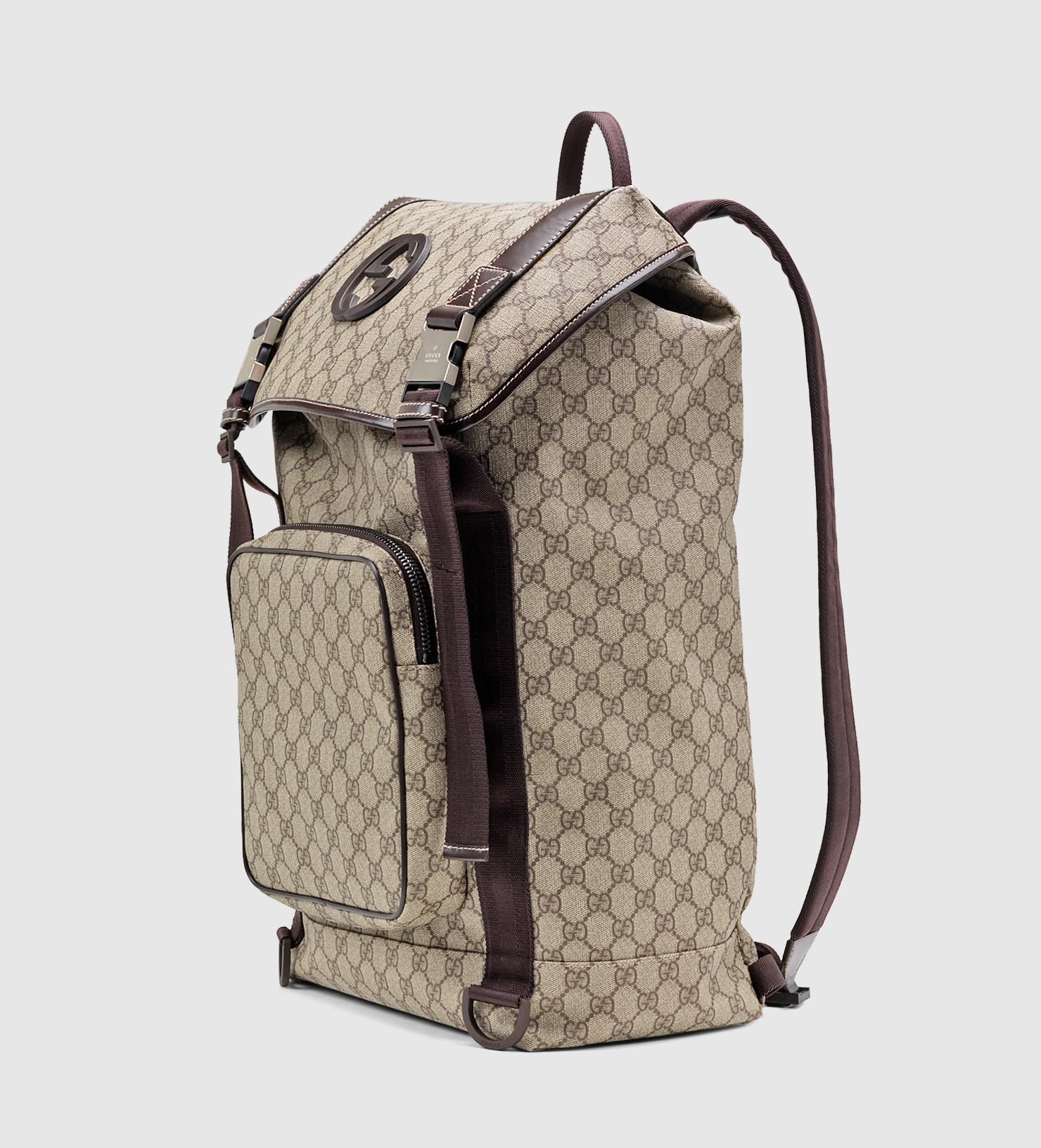Gucci Gg Supreme Canvas Interlocking G Backpack In Natural For Men
