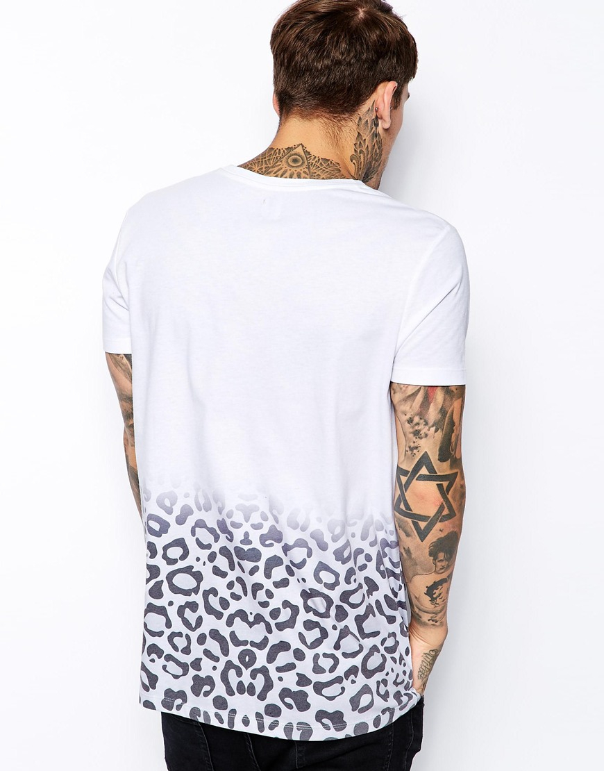 e9d41ec4c987 ASOS Longline T-Shirt With Leopard Print And Skater Fit in White for ...