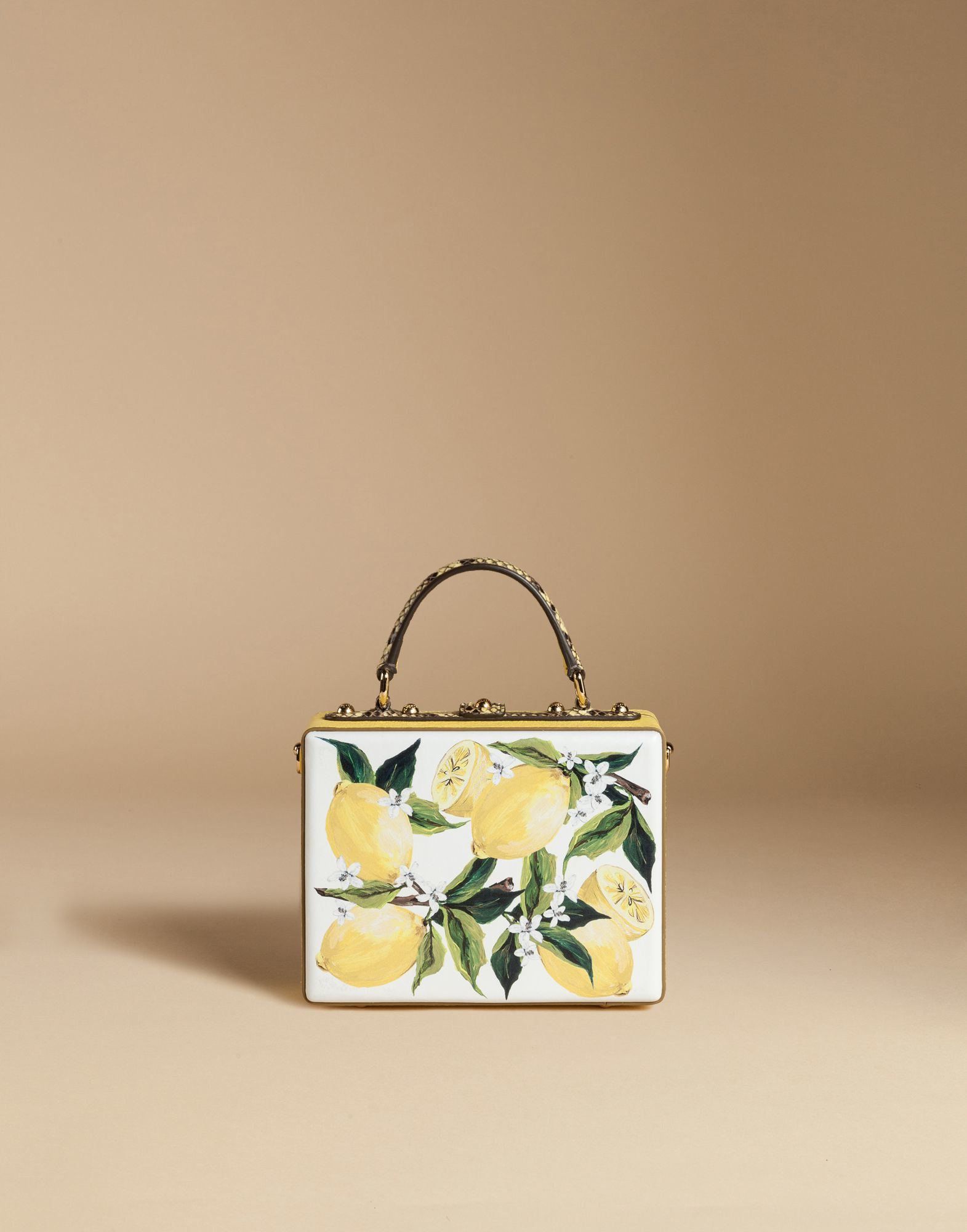 f8b546a6299 Dolce   Gabbana Dolce Box Bag In Calfskin And Python With Lemons And ...