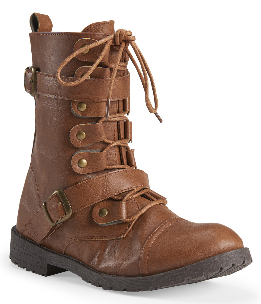 aeropostal faux leather buckled combat boot in brown lyst