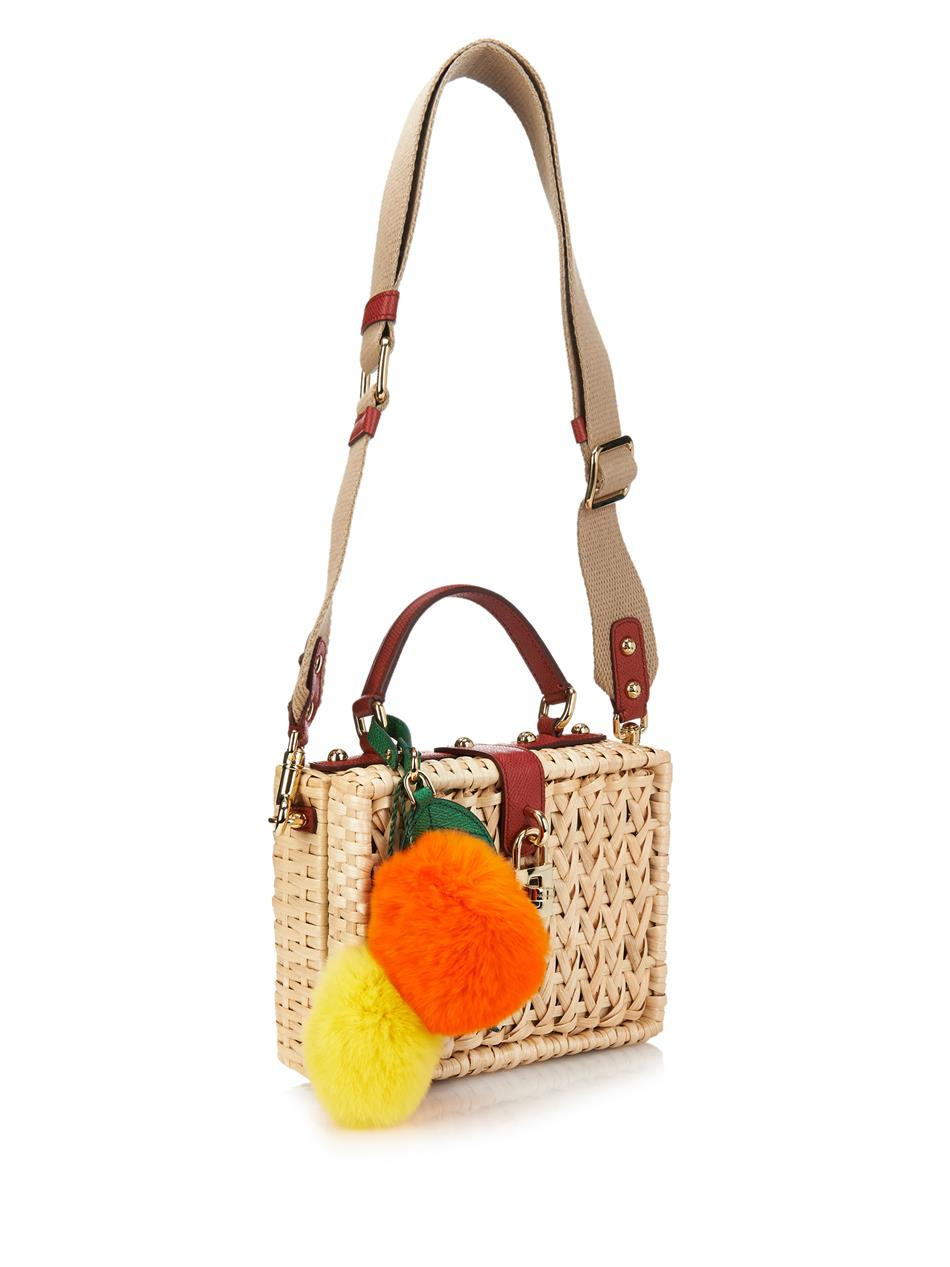 Lyst - Dolce   Gabbana Miss Dolce Raffia Box Bag in Orange 3e4c7904899e3