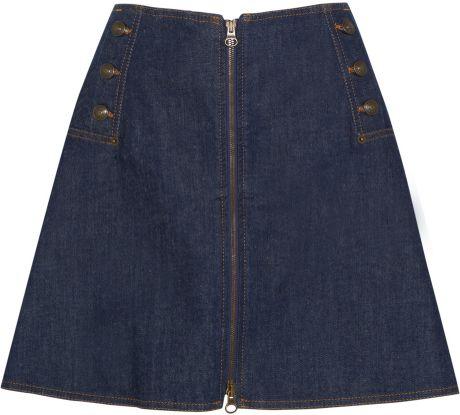 see by chlo 233 flared stretch denim mini skirt in blue lyst