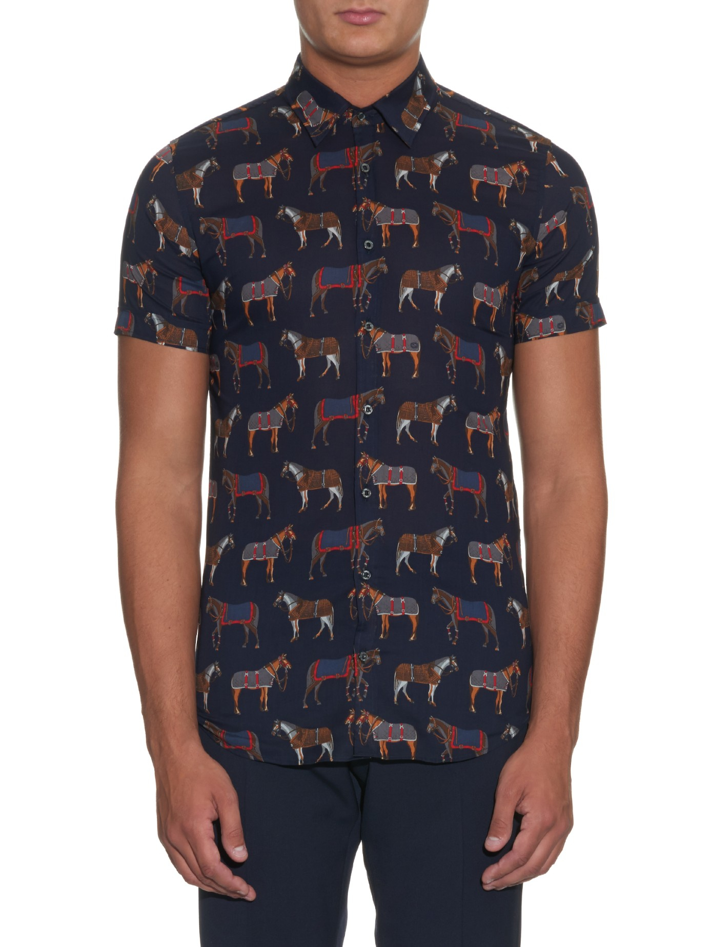 Lyst gucci horse print cotton shirt in blue for men for Gucci t shirts online india