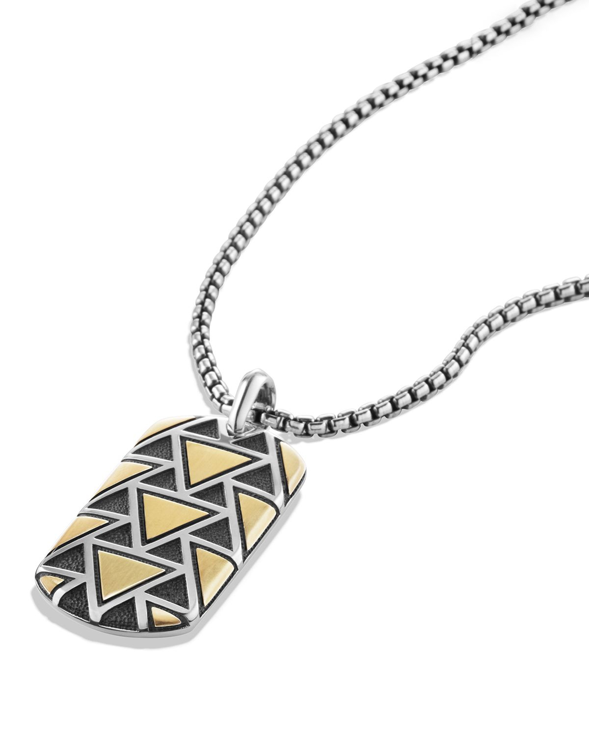 David Yurman Frontier Tag Necklace With 18k Gold In