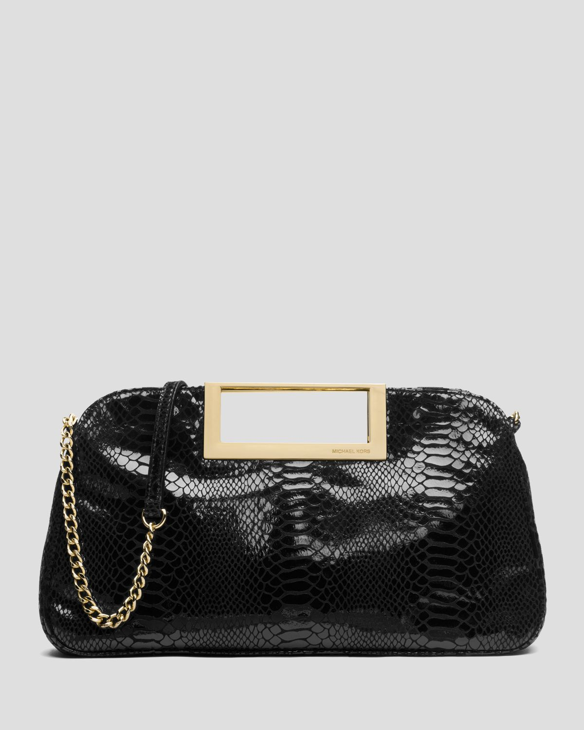 michael michael kors clutch berkley patent python embossed large in black lyst. Black Bedroom Furniture Sets. Home Design Ideas