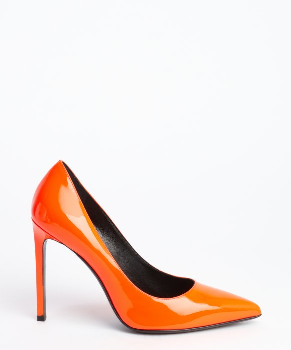 7687c13dc21d Saint Laurent Neon Orange Patent Leather Pointed Toe Pumps in Orange ...