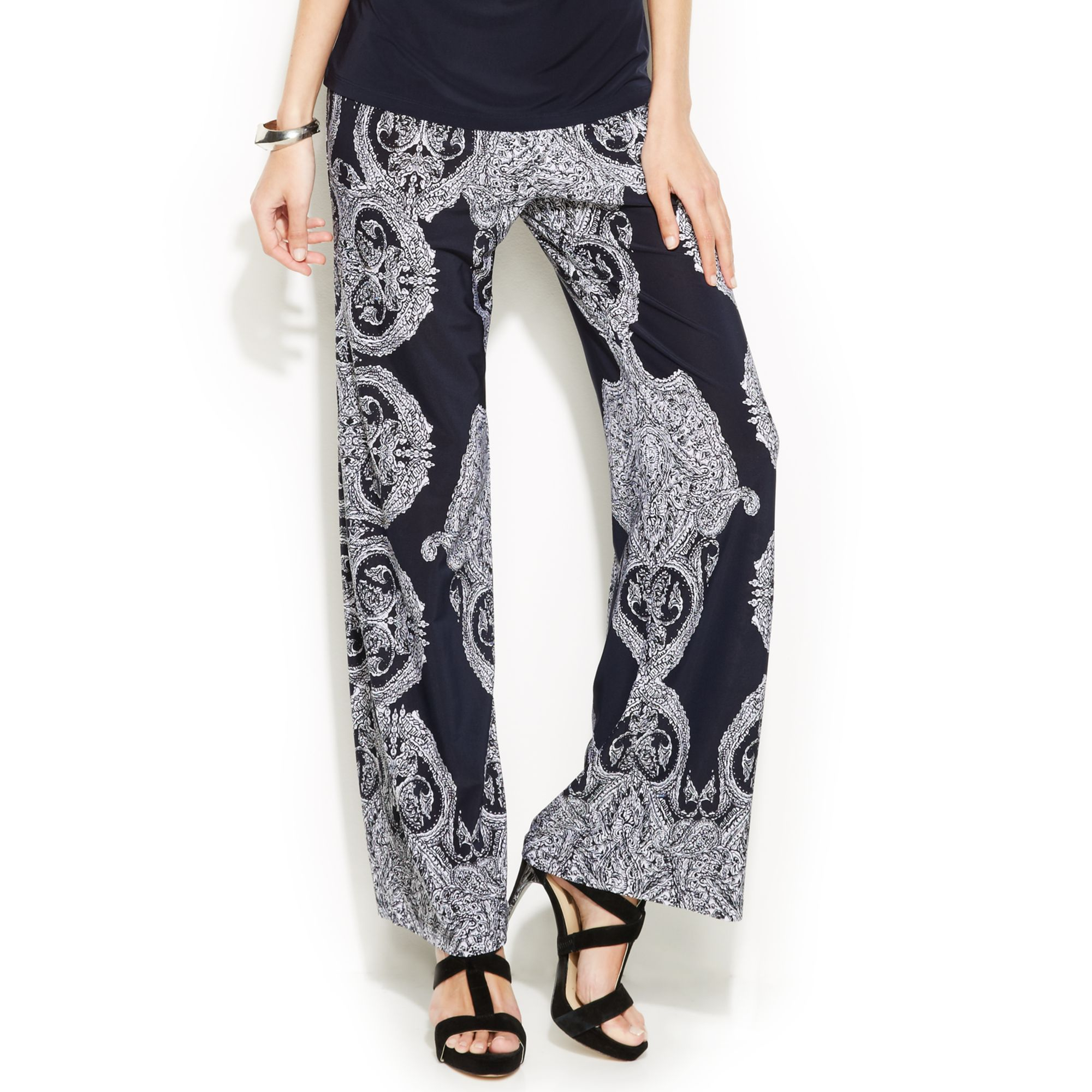 Inc international concepts Petite Printed Wideleg Soft Pants in ...