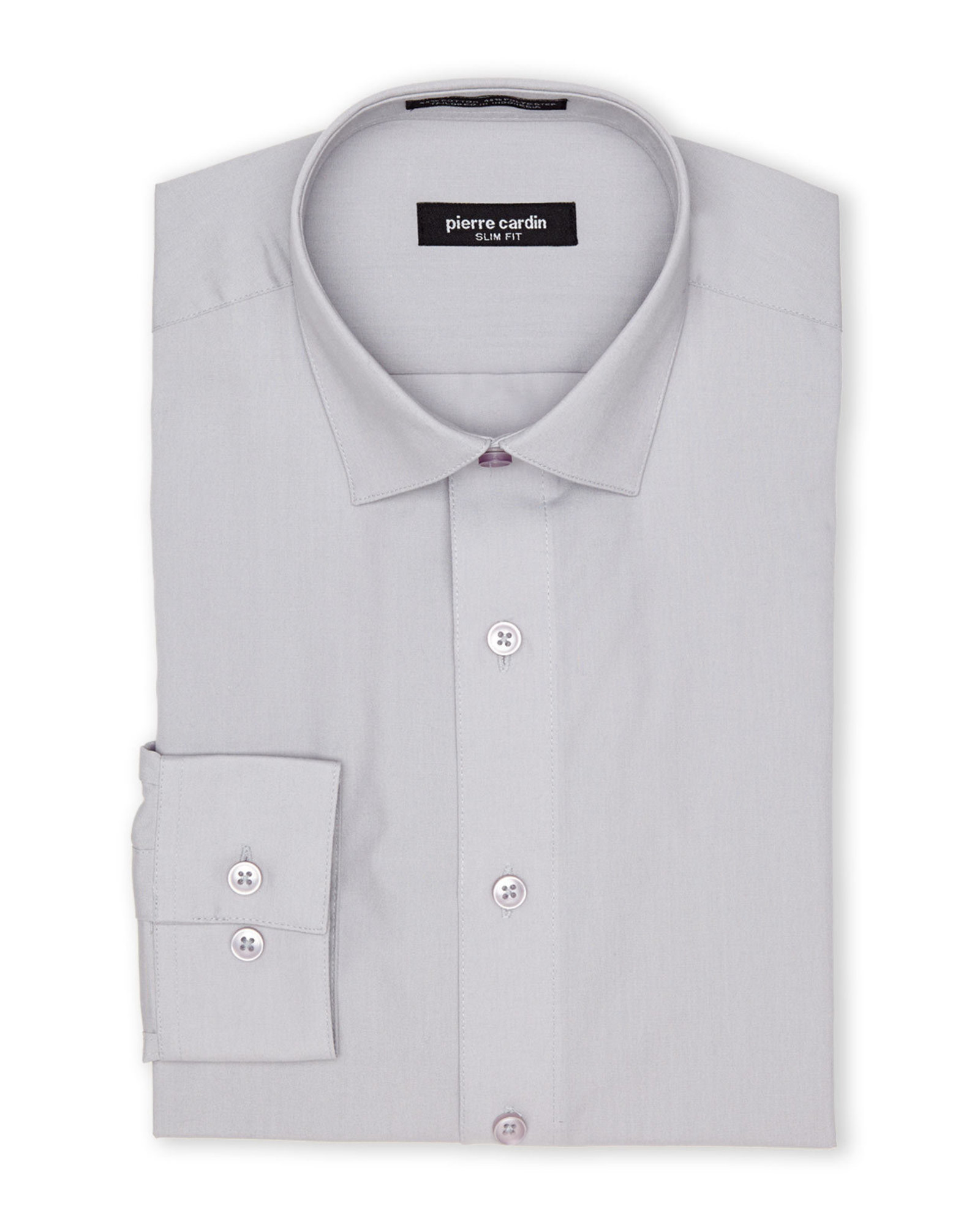 pierre cardin grey slim fit dress shirt in gray for men lyst