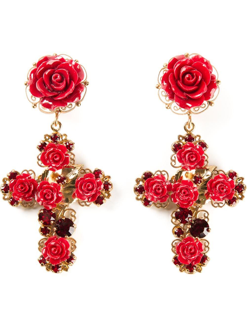 crystal rose drop earrings - Red Dolce & Gabbana G30kC