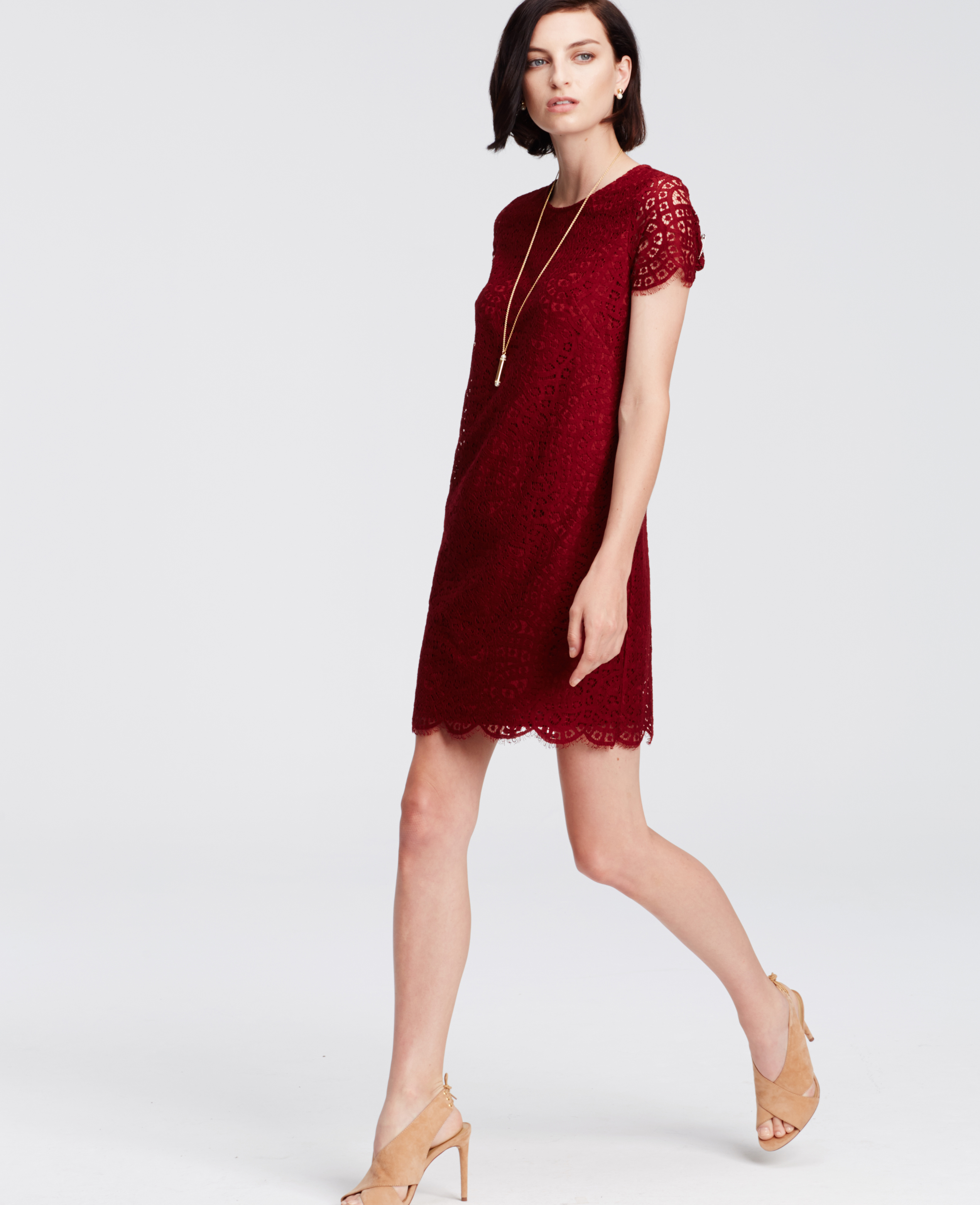 Lyst Ann Taylor Lace Shift Dress In Red