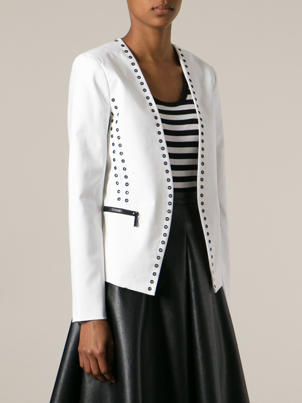 michael michael kors printed blazer in white lyst. Black Bedroom Furniture Sets. Home Design Ideas