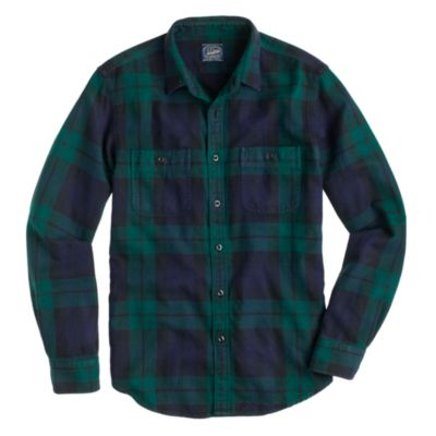 herringbone flannel shirt in black watch plaid in