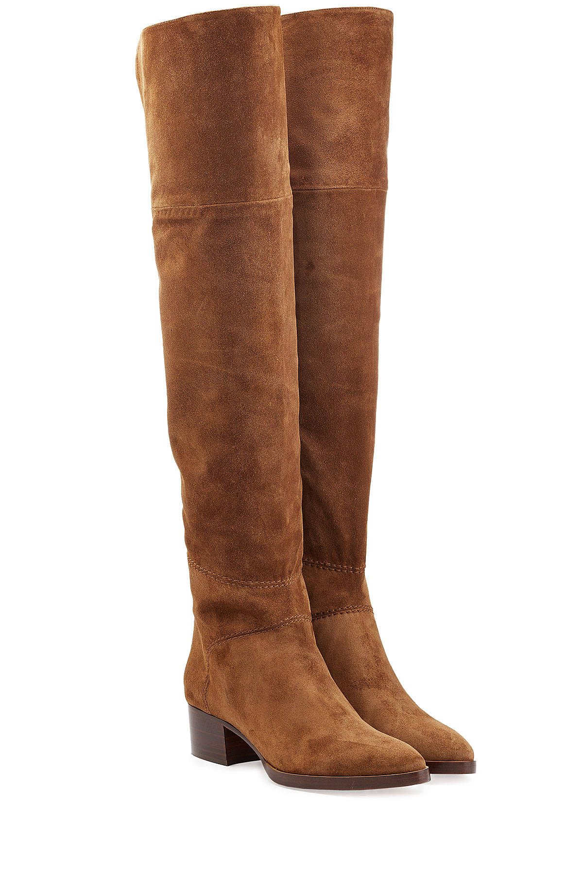 chlo 233 chlo 233 the knee suede boots camel in brown lyst