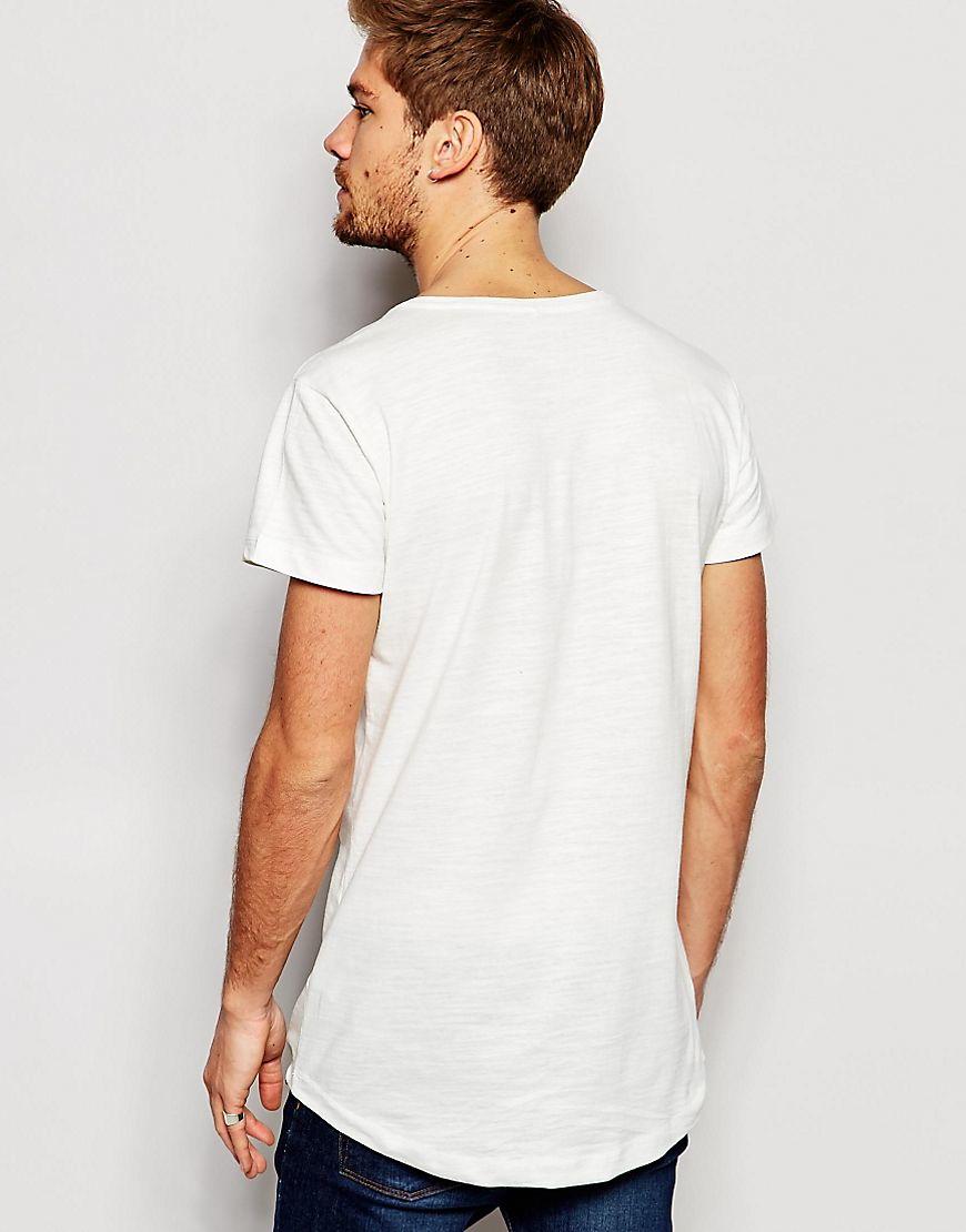 Blend t shirt v neck loose longline fit in off white in for White t shirt v neck