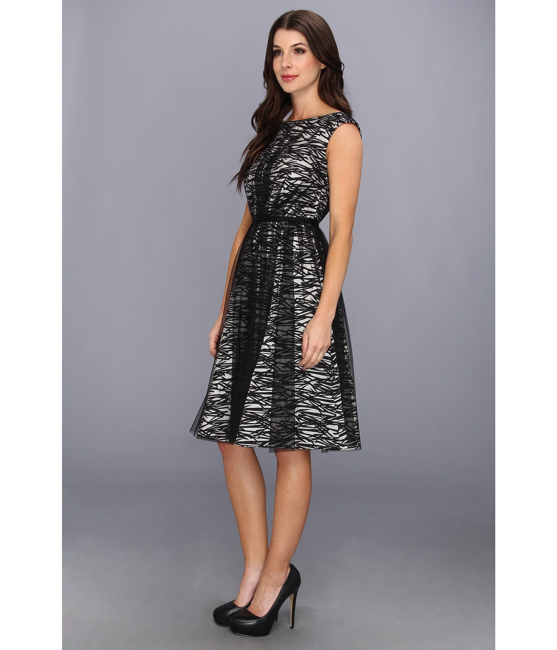Maggy london Cap Sleeve Printed Taffetamesh Party Dress in Black ...