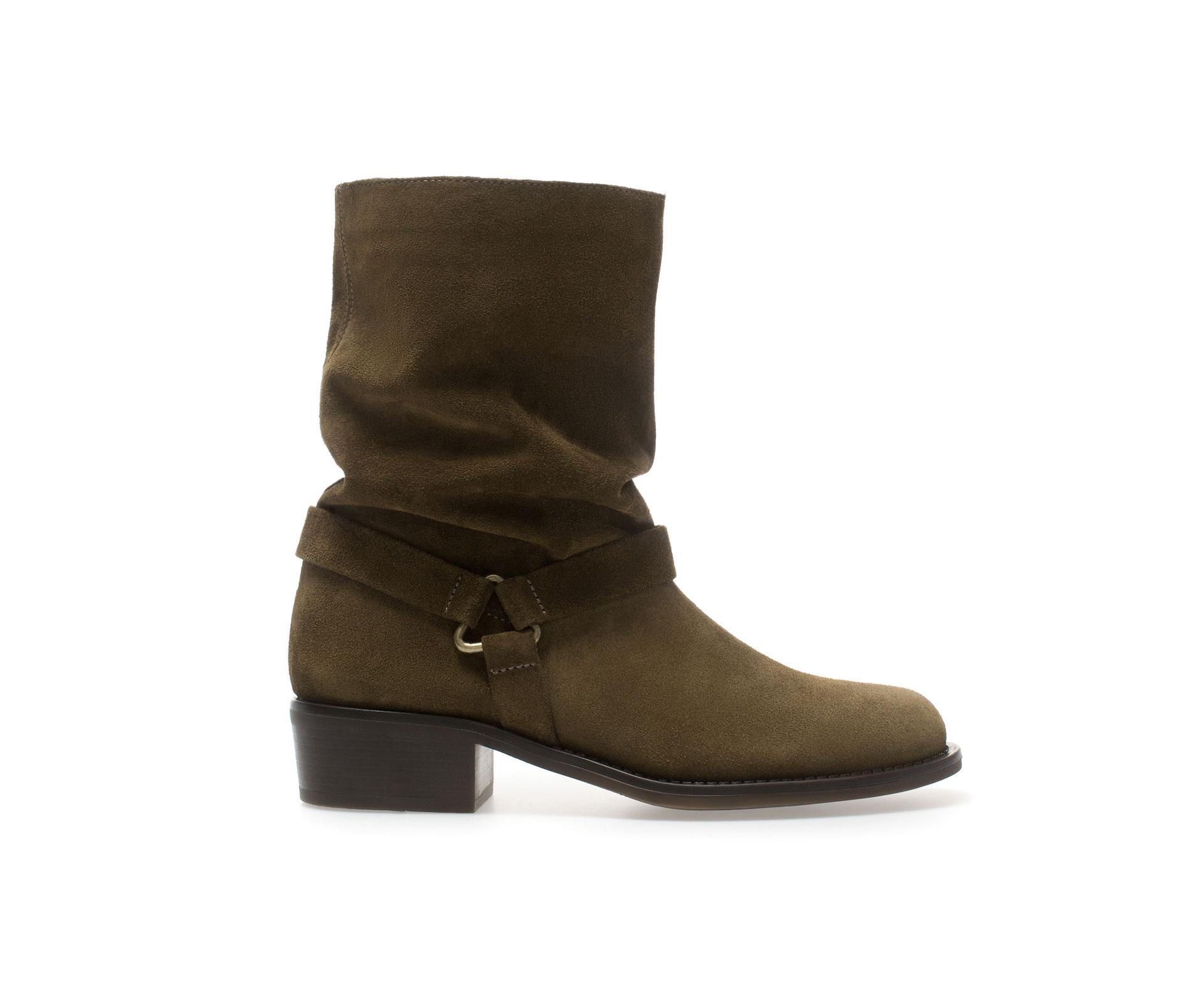 zara flat leather ankle boot in khaki lyst