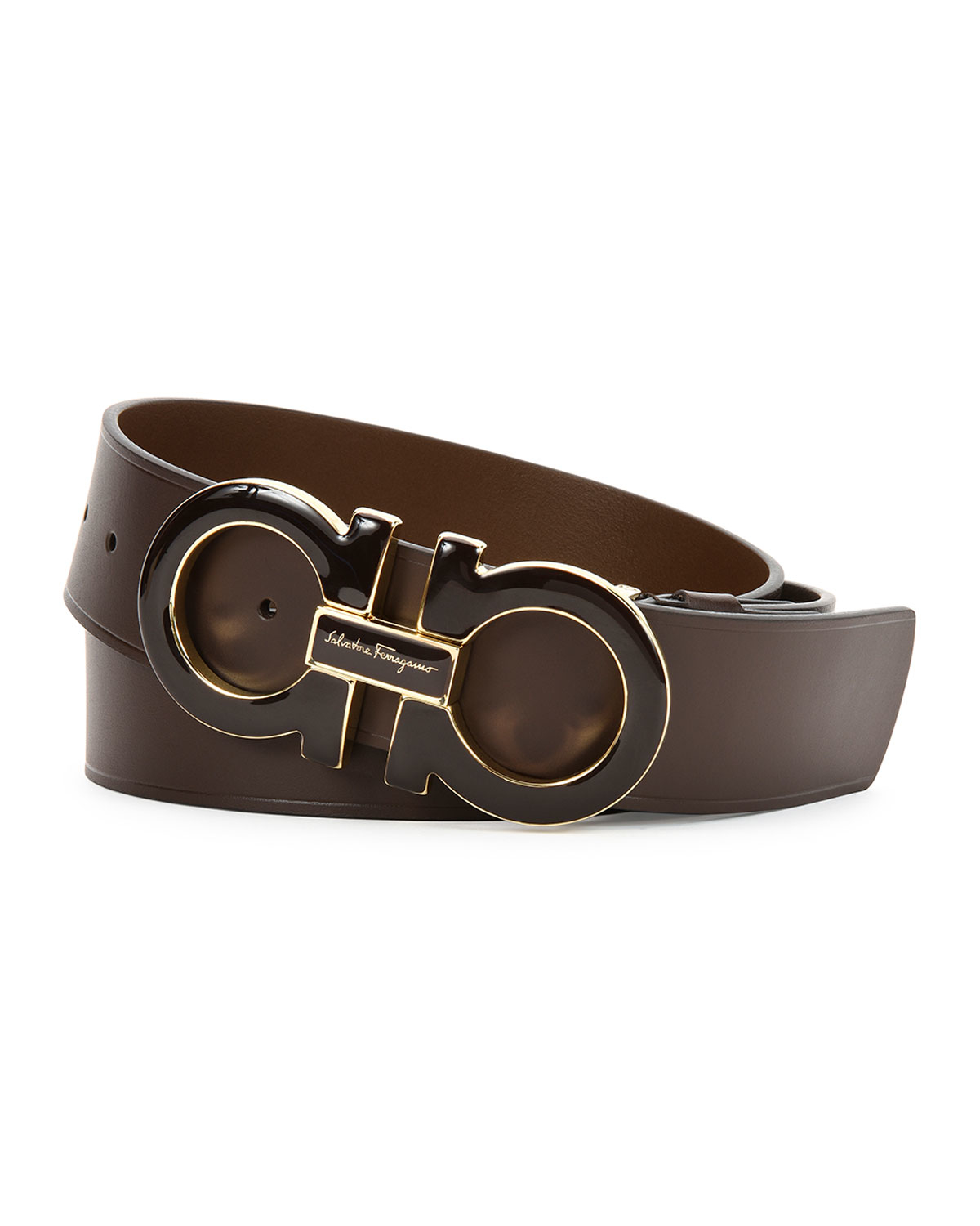ferragamo large gancini buckle belt in brown lyst