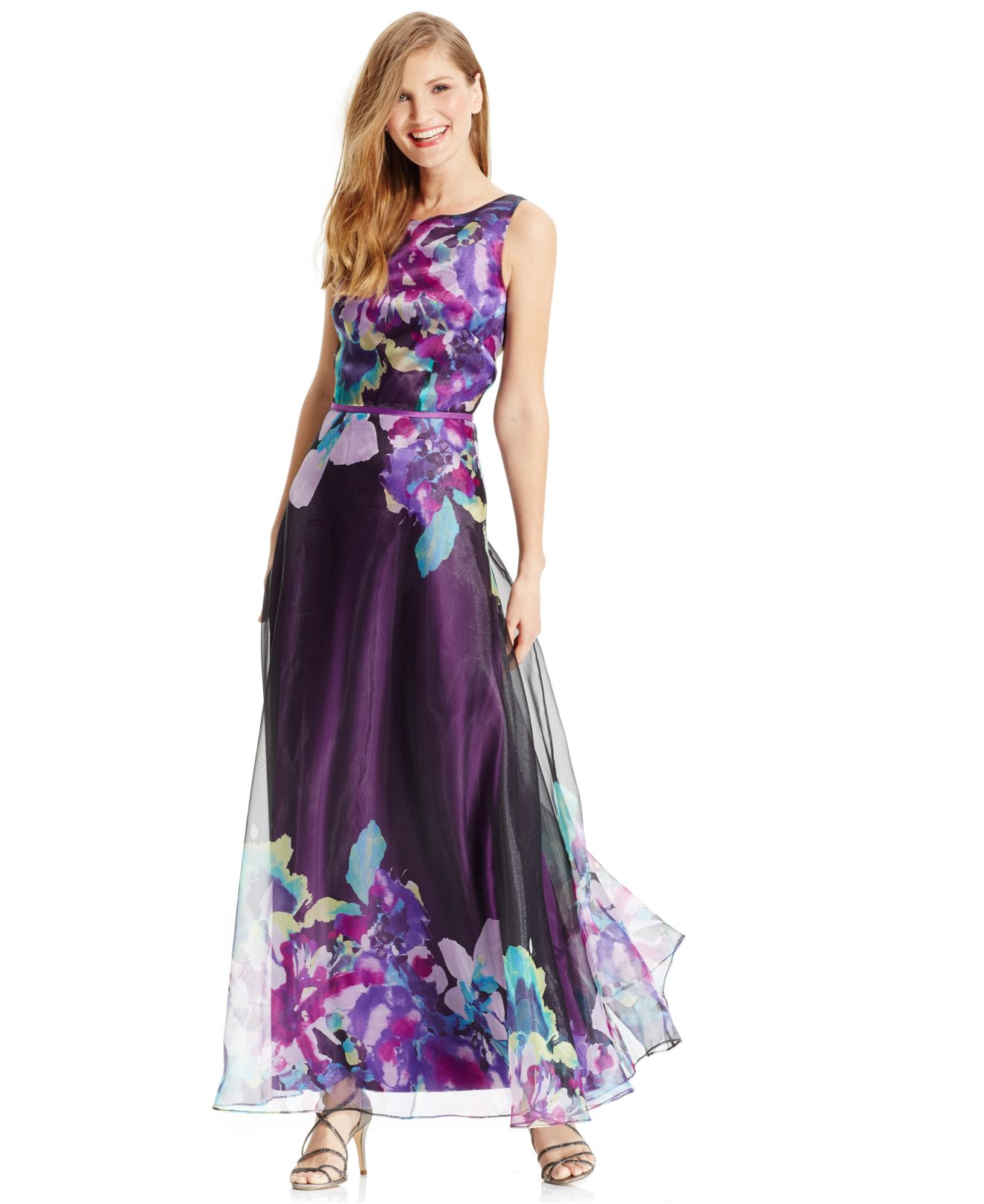 Lyst - Tahari Exploded Floral-print Sleeveless Gown in Purple