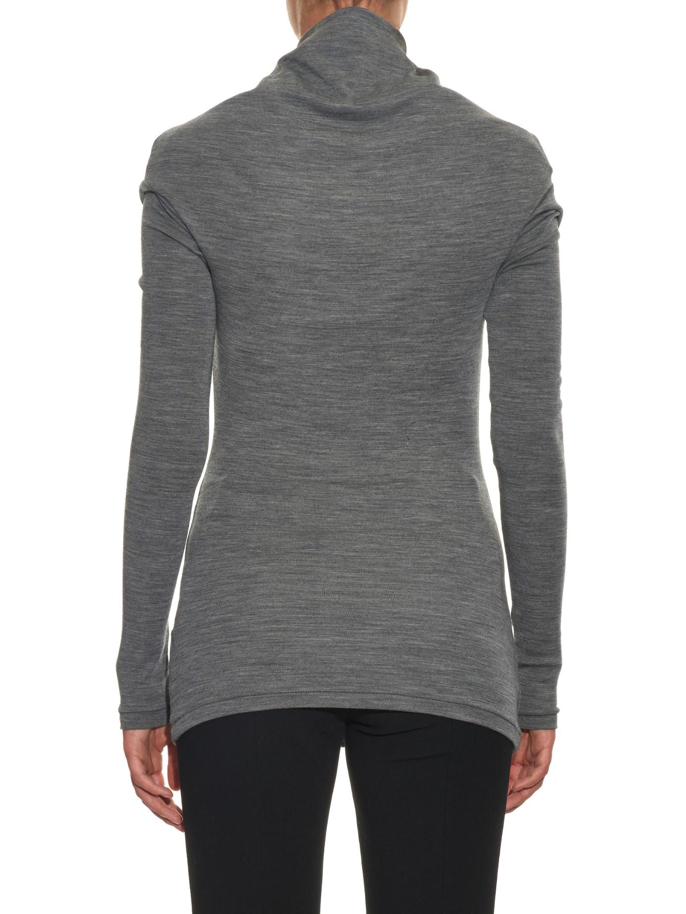 Joseph Cowl-neck Wool Sweater in Gray | Lyst