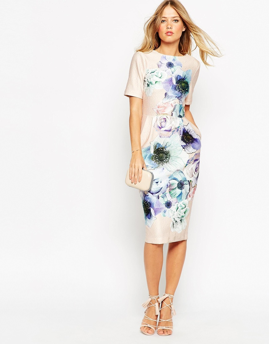 4b11d668e9ab1 ASOS Wiggle Dress In Watercolour Floral Print in White - Lyst