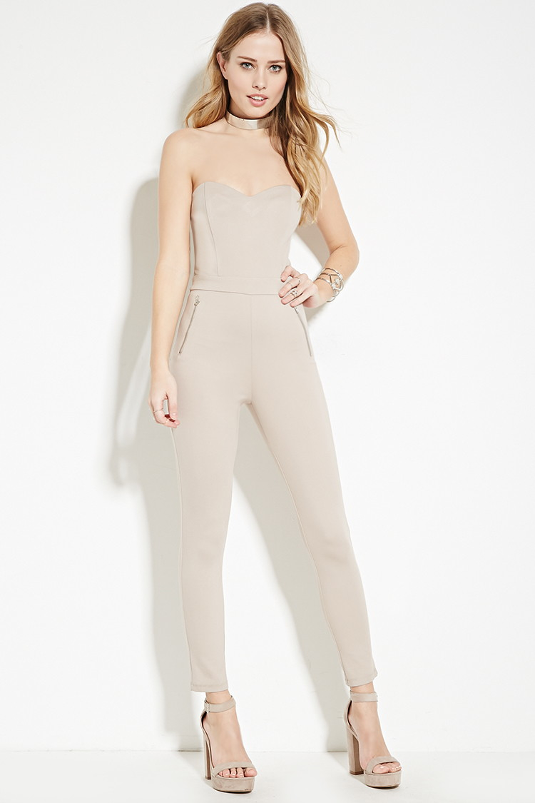 adf59d387124 Lyst - Forever 21 Strapless Tapered Jumpsuit in Natural